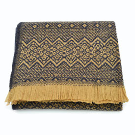 Nordic Wool Throw - Tan/Navy