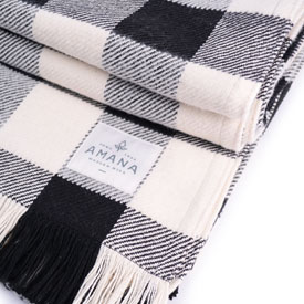 Black & Natural Rob Roy Check Cotton Throw