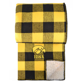 Iowa Hawkeye Rob Roy Cotton Throw with Sherpa Backing - Black & Gold
