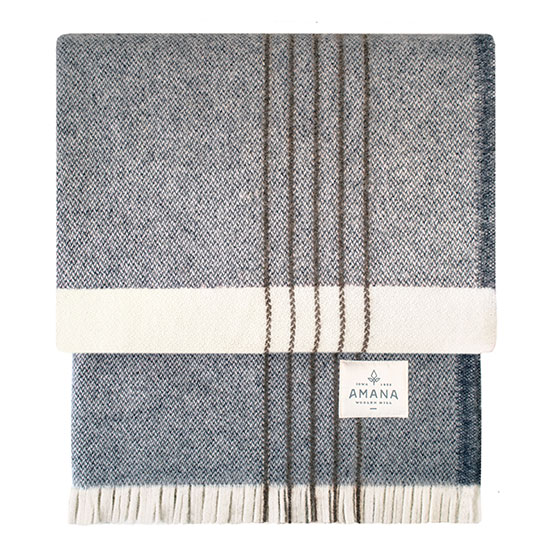 Plat Wool Throw - Natural with Navy
