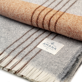 Plat Wool Throw - Natural with Grey/Burgundy
