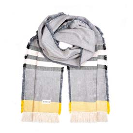 Alum Cotton Scarf - Natural with Black & Gold