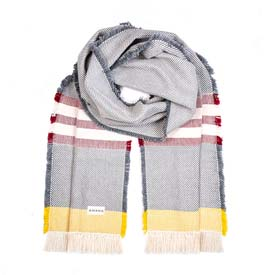 Alum Cotton Scarf- Natural with Burgundy & Gold