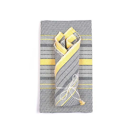 Beach Tea Towel & Dish Cloth Set - Navy/Yellow