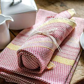 Beach Tea Towel & Dish Cloth Set - Red/Yellow