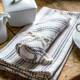 Vintage Ticking Tea Towel & Dish Cloth Set - Navy