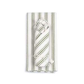 Vintage Ticking Tea Towel & Dish Cloth Set - Olive