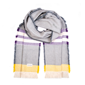 Alum Cotton Scarf - Natural with Purple & Gold