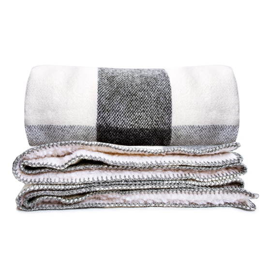 Big Roy Wool Throw with Sherpa Backing - Gray/Natural