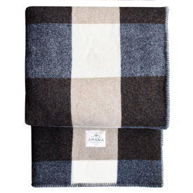 Big Roy Wool Throw with Sherpa Backing - Navy/Tan