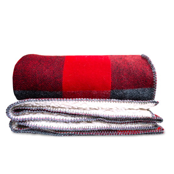 Big Roy Wool Throw with Sherpa Backing - Red/Black