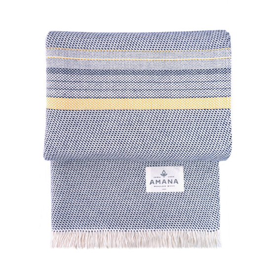Beach Cotton Throw - Navy/Yellow