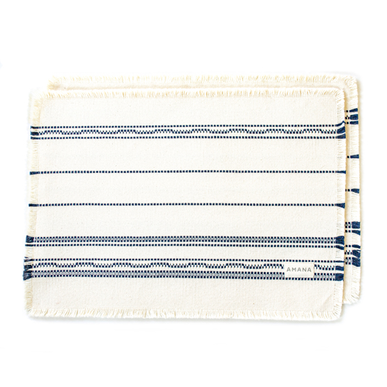 Casual Placemat Amana Weave Natural/Navy - set of 2