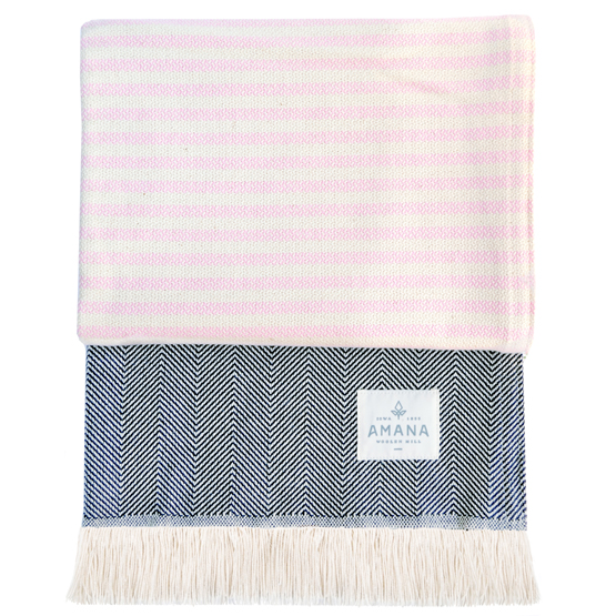 Wild Rose Cotton Throw - Pink/Navy