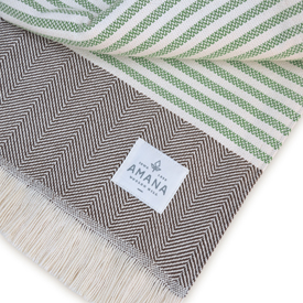 Wild Rose Cotton Throw - Moss/Brown