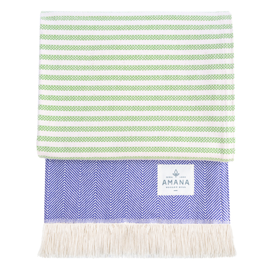 Wild Rose Cotton Throw - Lime/Royal
