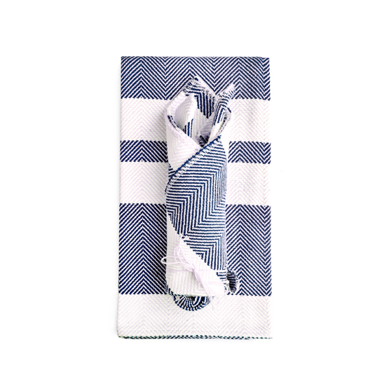 Chevron Tea Towel & Dish Cloth Set - Navy