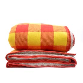 Rob Roy Cotton Throw with Sherpa Backing - Red/Gold
