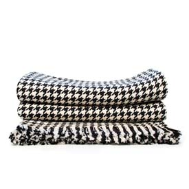 Hardy Houndstooth Cotton Throw - Black
