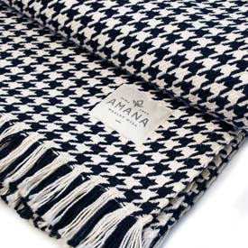 Hardy Houndstooth Cotton Throw - Navy