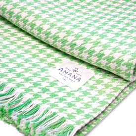 Hardy Houndstooth Cotton Throw - Grass Green