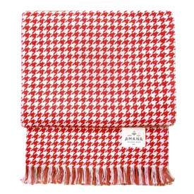 Hardy Houndstooth Cotton Throw - Red Denim