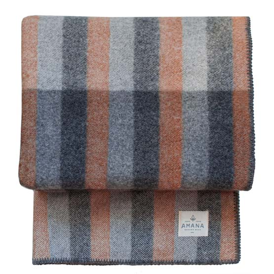 Silhouette Wool Bed Blanket - Rust/Grey