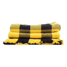 Black & Gold Rob Roy Check Cotton Throw