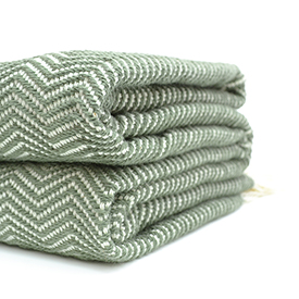 Olive Herringbone Cotton Blanket