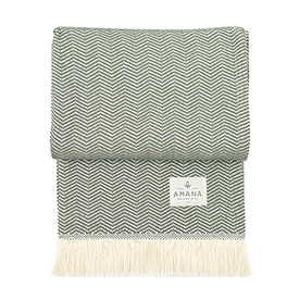 Olive Herringbone Cotton Throw