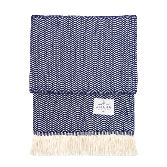 Navy Herringbone Cotton Blanket