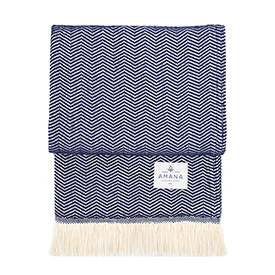 Navy Herringbone Cotton Throw