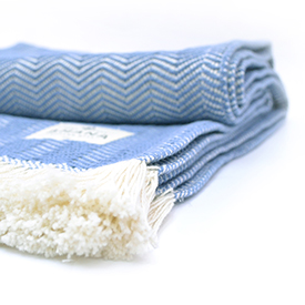 Cornflower Herringbone Cotton Throw