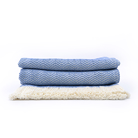 Cornflower Herringbone Cotton Blanket