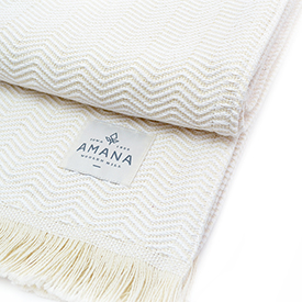 Natural Herringbone Cotton Throw