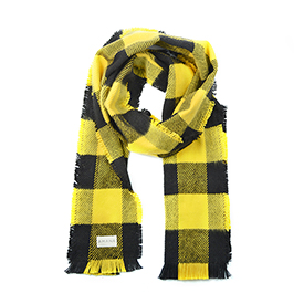 Buffalo Check Cotton Scarf - Black/Gold
