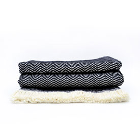 Black Herringbone Cotton Throw