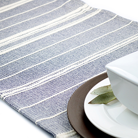 Amana Weave Table Runner - Navy/Natural