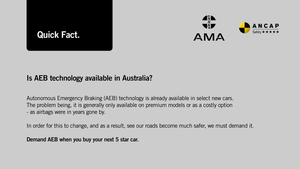 AMA and ANCAP call for new technology to be standard features in Australian cars to save lives
