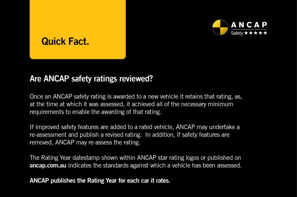 ANCAP Quick Fact: Are ANCAP safety ratings reviewed?