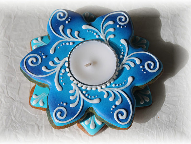 Blue Snowflake Candle Holder Cookie