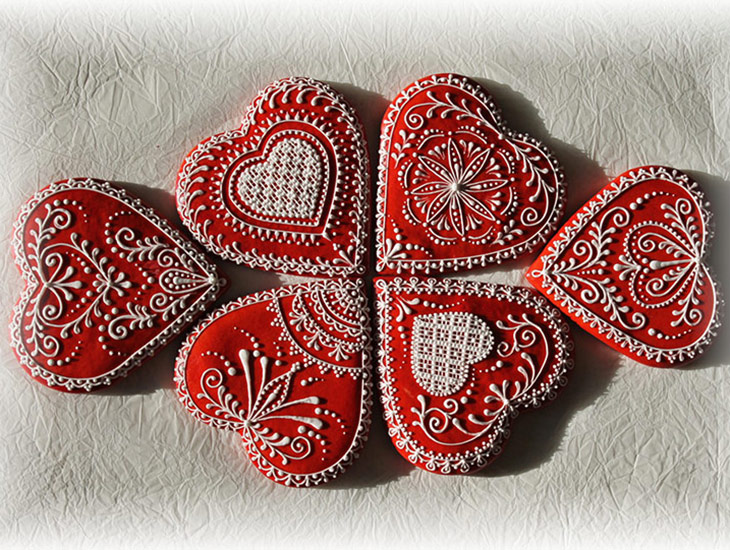 Traditional Folk Heart Cookies