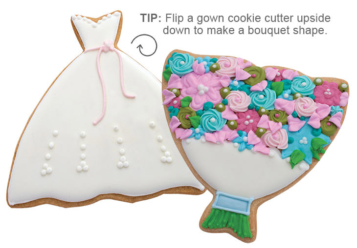 Wedding Gown and Bouquet Cookies