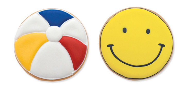 Beach Ball and Smiley Face Cookies