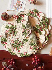 Holly Quilted Round Placemat