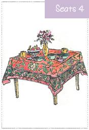Breakfast Tablecloth 48x48 to 60x60