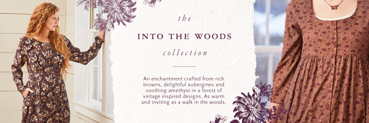 An enchantment crafted from rich browns, delightful aubergines and soothing amethyst in a forest of vintage inspired designs. As warm and inviting as a walk in the woods.