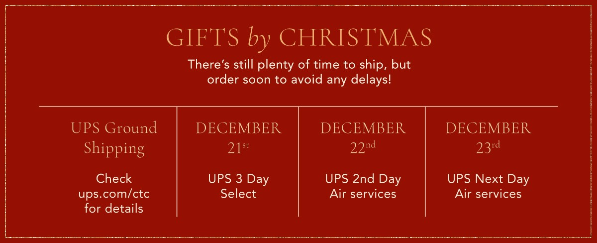 There's still plenty of time to ship, but order soon to avoid any delays!