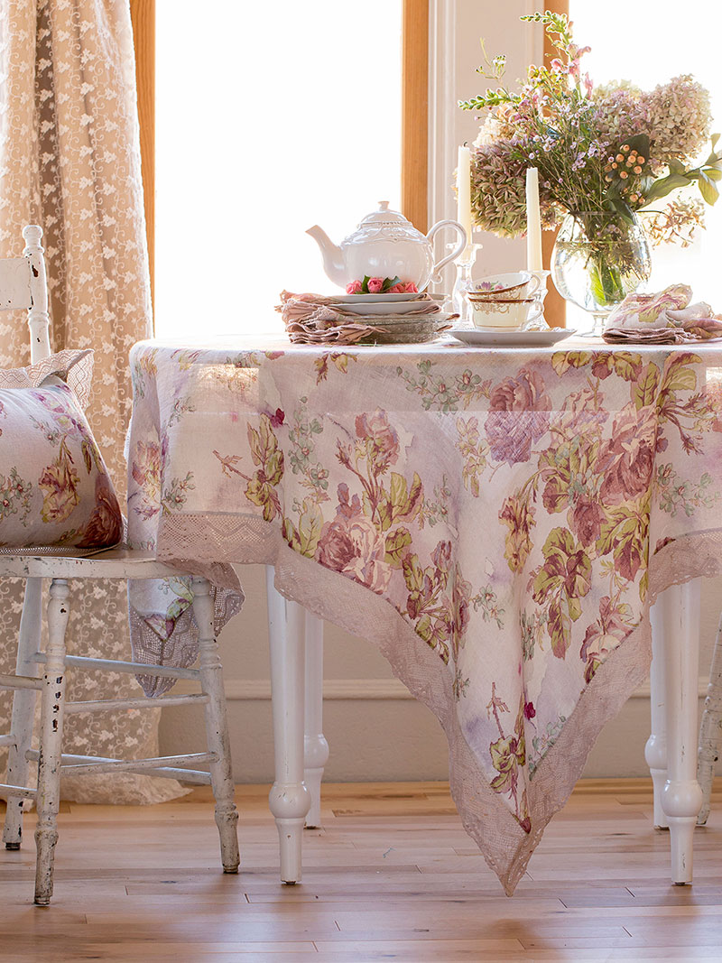 Victorian Rose Linen Tablecloth