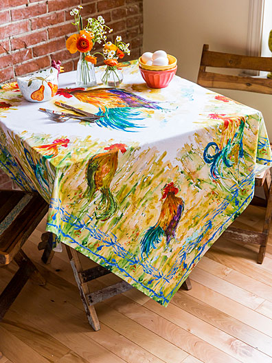 rooster watercolor tablecloth linens kitchen tablecloths